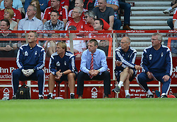 Nottingham Forest's Manager Stuart Pearce sits on the bench. - Photo mandatory by-line: Alex James/JMP - Mobile: 07966 386802 09/08/2014 - SPORT - FOOTBALL - Nottingham - City Ground - Nottingham Forest v Blackpool - Sky Bet Championship - First game of the season