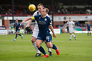 14th September 2019; Dens Park, Dundee, Scotland; Scottish Championship, Dundee Football Club versus Alloa Athletic; Paul McGowan of Dundee challenges for the ball with Alloa centre back Ally Graham
