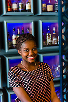 Young woman working at Makaron Restaurant, Majeka House Hotel, Stellenbosch, Cape Winelands, South Africa.