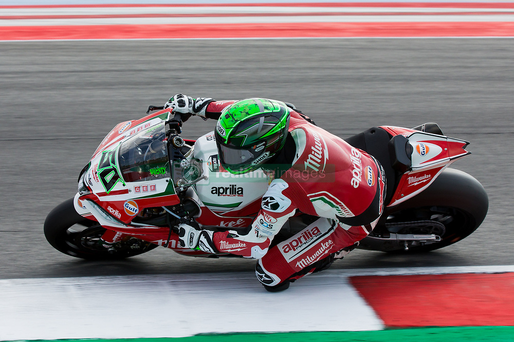 July 8, 2018 - Misano, RN, Italy - Eugene Laverty of Milwaukee Aprilia during race 2 of the Motul FIM Superbike Championship, Riviera di Rimini Round, at Misano World Circuit ''Marco Simoncelli'', on July 08, 2018 in Misano, Italy  (Credit Image: © Danilo Di Giovanni/NurPhoto via ZUMA Press)