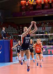 07-01-2016 TUR: European Olympic Qualification Tournament Nederland - Kroatie, Ankara<br /> Nederland verslaat Kroatië met 3-0 en gaat als groepswinnaar de halve finale in / Anne Buijs #11 met een prachtige redding