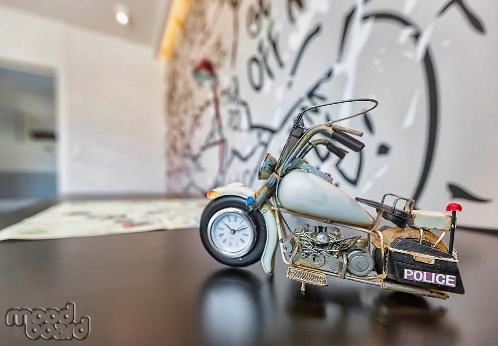 Close up photo of motorbike toy on table