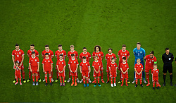 CARDIFF, WALES - Thursday, September 6, 2018: Wales players line-up for the national anthem before of the UEFA Nations League Group Stage League B Group 4 match between Wales and Republic of Ireland at the Cardiff City Stadium. L-R Gareth Bale, Aaron Ramsey, Tom Lawrence, Ben Davies, David Brooks, Connor Roberts, Ethan Ampadu, Joe Allen, Chris Mepham, goalkeeper Wayne Hennessey and captain Ashley Williams. (Pic by Laura Malkin/Propaganda)