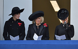 (left to right) The Duchess of Cambridge, Duchess of Cornwall and the Countess of Wessex during the annual Remembrance Sunday Service at the Cenotaph memorial in Whitehall, central London, held in tribute for members of the armed forces who have died in major conflicts.