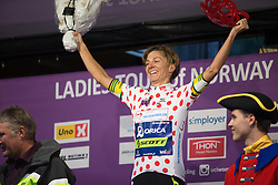 Katrin Garfoot (AUS) of Orica Scott Cycling Team celebrates wearing the best climber's polka dot jersey after the prologue of the Ladies Tour of Norway - a 3.4 km time trial, starting and finishing in Halden on August 17, 2017, in Ostfold, Norway. (Photo by Balint Hamvas/Velofocus.com)