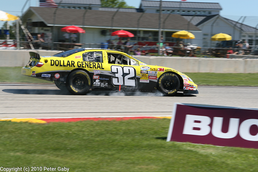 Jacque Villeneuve - Dollar General Stores Chevrolet late on the brakes in Turn 14 during Qualifying...Villeneuve qualified 2nd.