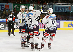 06.12.2015, Eisstadion Liebenau, Graz, AUT, EBEL, Moser Medical Graz 99ers vs EC VSV, 28. Runde, im Bild Jubel von Rick Schofield (EC VSV), Ziga Pance (EC VSV) und Dustin Johner (EC VSV) // during the Erste Bank Icehockey League 28th Round match between Moser Medical Graz 99ers and EC VSV at the Ice Stadium Liebenau, Graz, Austria on 2015/12/06, EXPA Pictures © 2015, PhotoCredit: EXPA/ Erwin Scheriau