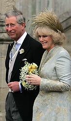 The Prince of Wales and his bride Camilla, Duchess of Cornwall leave St George's Chapel in Windsor, following the church blessing of their civil wedding ceremony.