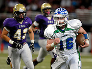 25 Nov. 201 -- ST. LOUIS -- Blue Springs South High School quarterback Connor Harris (16) sprints for yardage against the defense from CBC High School in the second half of the game between the school in the MSHSAA Class 6 state championship Friday, Nov. 25, 2011 at the Edward Jones Dome in St. Louis. Photo © copyright 2011 Sid Hastings.