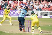 Sophie Ecclestone batting during the Royal London Women's One Day International match between England Women Cricket and Australia at the Fischer County Ground, Grace Road, Leicester, United Kingdom on 4 July 2019.