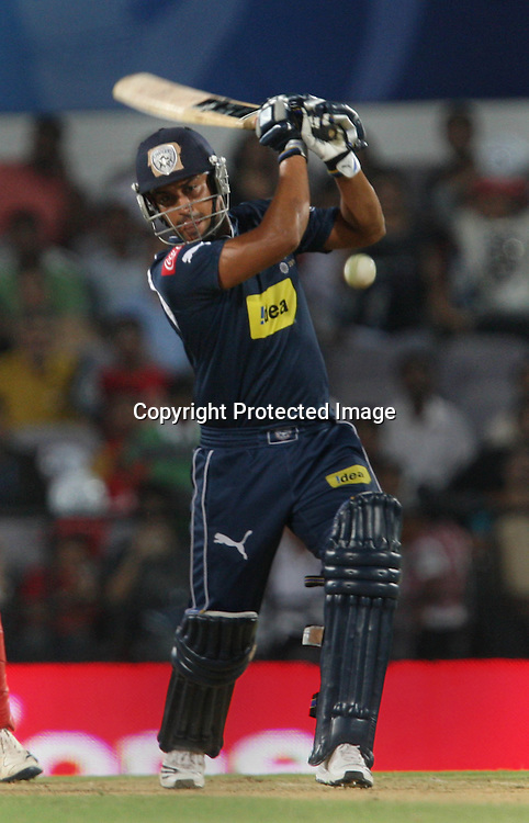 Deccan Chargers Batsman Monish Mishra Hit The Shot During The Indian Premier League - 46th m atch Twenty20 match | 2009/10 season Played at Vidarbha Cricket Association Stadium, Jamtha, Nagpur 12 April 2010 - day/night (20-over match)