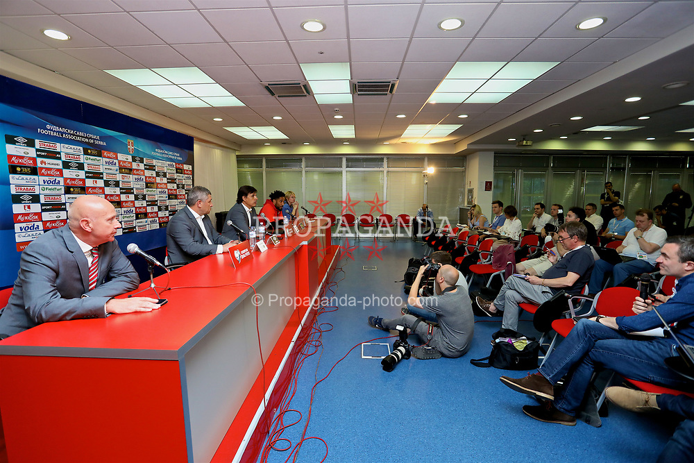 BELGRADE, SERBIA - Saturday, June 10, 2017: Wales' manager Chris Coleman and captain Ashley Williams during a press conference at the Red Star Stadium ahead of the 2018 FIFA World Cup Qualifying Group D match against Serbia. (Pic by David Rawcliffe/Propaganda)