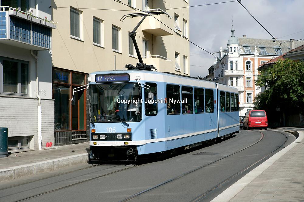 Oslo Norge 2006 07<br /> Sp&aring;rvagn vid Bokstav&auml;gen i Oslo<br /> <br /> ----<br /> FOTO : JOACHIM NYWALL KOD 0708840825_1<br /> COPYRIGHT JOACHIM NYWALL<br /> <br /> ***BETALBILD***<br /> Redovisas till <br /> NYWALL MEDIA AB<br /> Strandgatan 30<br /> 461 31 Trollh&auml;ttan<br /> Prislista enl BLF , om inget annat avtalas.