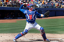 March 18, 2018 - Las Vegas, NV, U.S. - LAS VEGAS, NV - MARCH 18: Victory Caratini (7) of the Cubs makes a throw during a game between the Chicago Cubs and Cleveland Indians as part of Big League Weekend on March 18, 2018 at Cashman Field in Las Vegas, Nevada. (Photo by Jeff Speer/Icon Sportswire) (Credit Image: © Jeff Speer/Icon SMI via ZUMA Press)