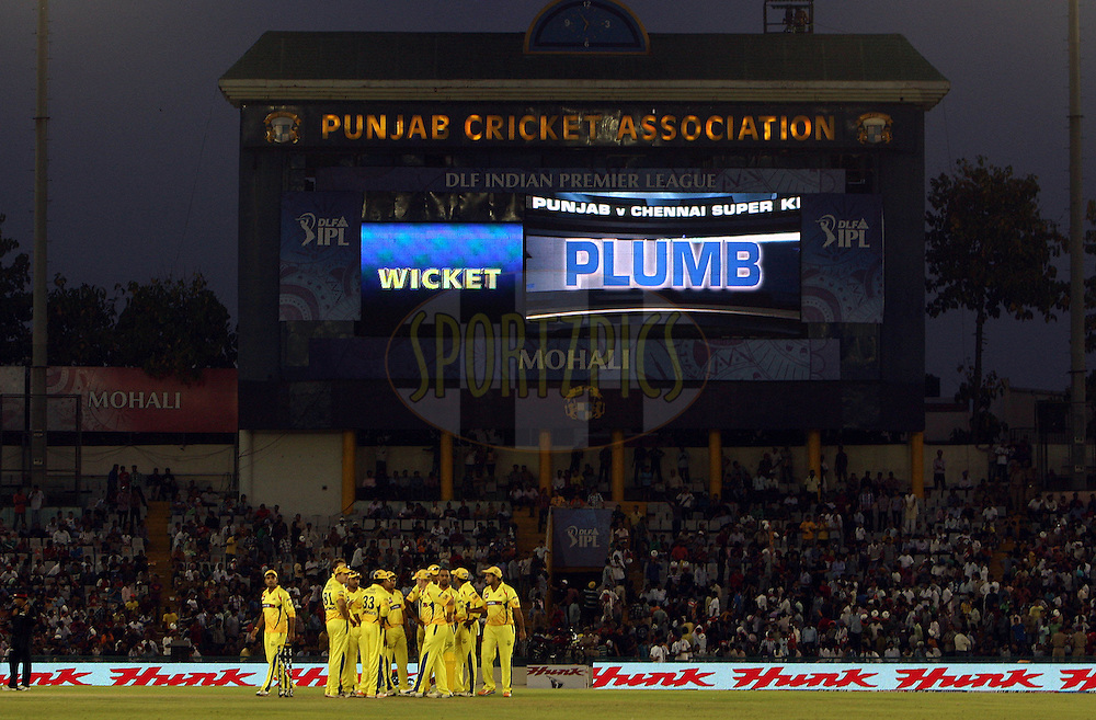 An electronic screen during match 9 of the Indian Premier League ( IPL ) Season 4 between the Kings XI Punjab and the Chennai Super Kings held at the PCA stadium in Mohali, Chandigarh, India on the 13th April 2011..Photo by Money Sharma/BCCI/SPORTZPICS