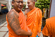 02 MARCH 2008 -- BANGKOK, THAILAND:   Buddhist monks at Wat Traimit (Temple of the Golden Buddha) in Bangkok, Thailand.   Photo by Jack Kurtz