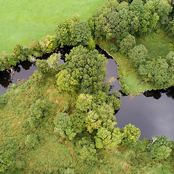 Drone view of the Taunton River at the Great River Preserve in Bridgewater, Massachusetts.