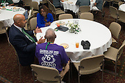 Dr. Jason Pina, Ohio University Vice President for Student Affairs, speaks with alumni and students during the Black Alumni Reunion's Student and Alumni Networking event held at the Baker Center Ballroom on Friday, September 16, 2016.