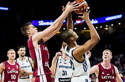 Kristaps Porzingis of Latvia vs Anthony Randolph of Slovenia during basketball match between National Teams of Slovenia and Latvia at Day 13 in Round of 16 of the FIBA EuroBasket 2017 at Sinan Erdem Dome in Istanbul, Turkey on September 12, 2017. Photo by Vid Ponikvar / Sportida