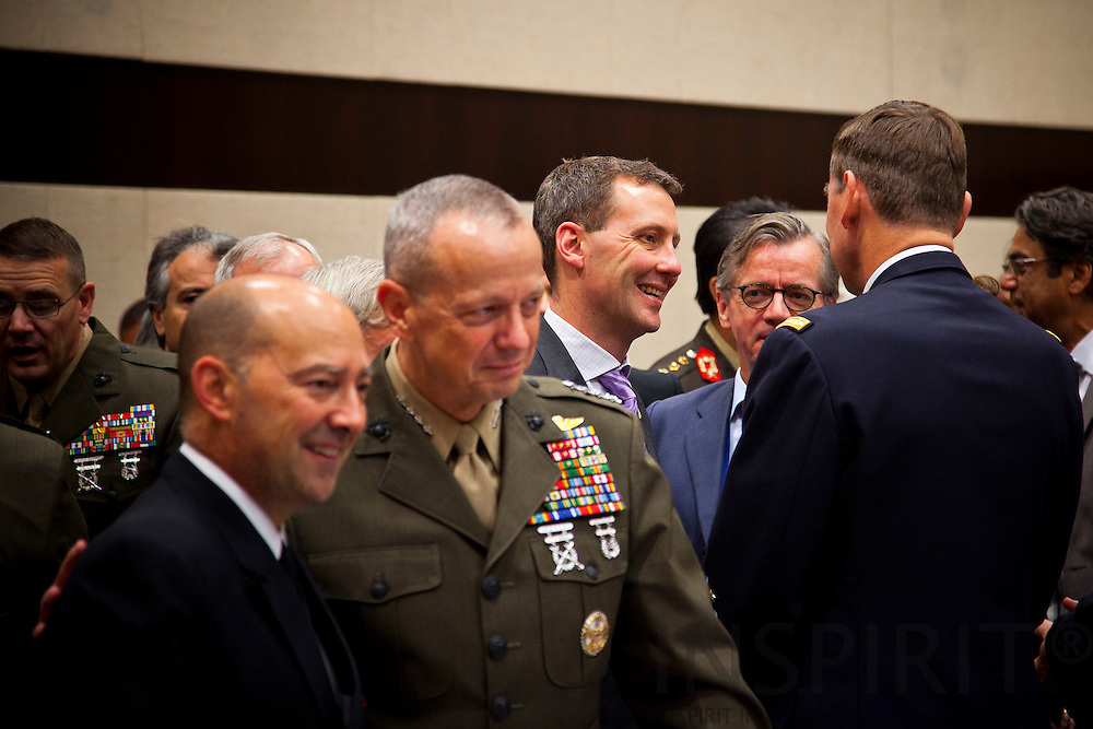 From left  Admiral James Stavridis, Commander of SACEUR, General John R. Allen, Commander of ISAF,  Danish Minister of Defence Nick Haekkerup, Danish Ambassador to NATO Carsten Soendergaard speaking with General Stéphane Abrial, Supreme Allied Commander Transformation, at the beginning of the NATO defence ministers meeting at the alliance headquarters in Brussels October 6, 2011. PHOTO: ERIK LUNTANG / INSPIRIT Photo.