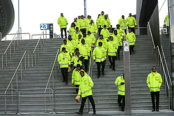 © Licensed to London News Pictures. 03/04/2019. London, UK. Stewards arrive at the Spurs new stadium as Tottenham play their first competitive game against Crystal Palace this evening. Photo credit: Dinendra Haria/LNP