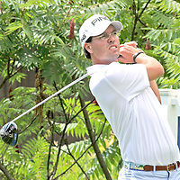 Billy Kennerly on the first tee during the LeCom Health Challenge Web.com PGA Tour at Peek n Peak July 8, 2017 photo by Mark L. Anderson