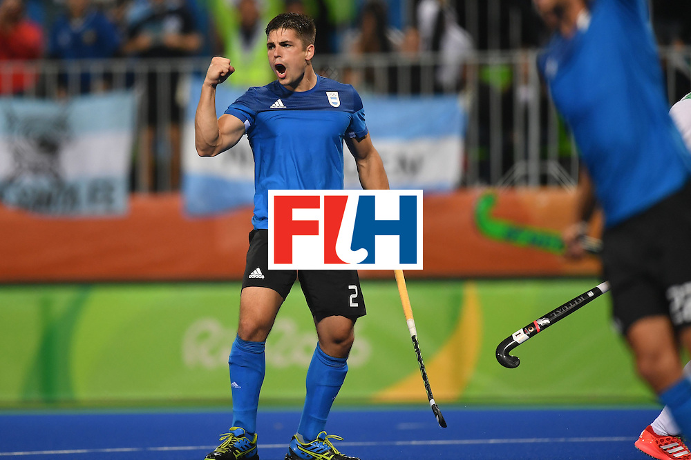 Argentina's Gonzalo Peillat celebrates scoring during the mens's field hockey Ireland vs Argentina match of the Rio 2016 Olympics Games at the Olympic Hockey Centre in Rio de Janeiro on August, 12 2016. / AFP / MANAN VATSYAYANA        (Photo credit should read MANAN VATSYAYANA/AFP/Getty Images)