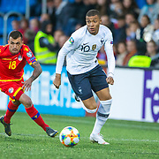 ANDORRA LA VELLA, ANDORRA. June 1.  Kylian Mbappe #10 of France defended by Jesus Rubio #18 of Andorra during the Andorra V France 2020 European Championship Qualifying, Group H match at the Estadi Nacional d'Andorra on June 11th 2019 in Andorra (Photo by Tim Clayton/Corbis via Getty Images)