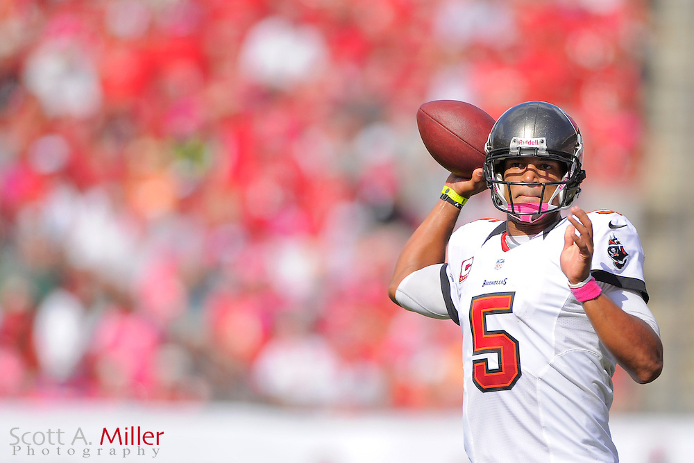 Tampa Bay Buccaneers quarterback Josh Freeman (5) during the Bucs 38-10 win over the Kansas City Chiefs at Raymond James Stadium  on Oct. 14, 2012 in Tampa, Florida. The Bucs won38-10...(SPECIAL TO FOXSPORTS.COM/Scott A. Miller)...