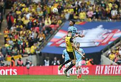 Gabriel Jesus of Manchester City wins a header - Mandatory by-line: Arron Gent/JMP - 18/05/2019 - FOOTBALL - Wembley Stadium - London, England - Manchester City v Watford - Emirates FA Cup Final
