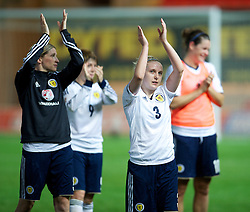 LLANELLI, WALES - Saturday, September 15, 2012: Scotland's Eilish McSorley celebrates the 2-1 victory over Wales during the UEFA Women's Euro 2013 Qualifying Group 4 match at Parc y Scarlets. (Pic by David Rawcliffe/Propaganda)