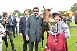 SHEIKH JOAAN BIN HAMAD BIN KHALIFA AL-THANI and FRANKIE DETTORI with Mehmas winner of the Qatar Richmond Stakes at day 3 of the Qatar Glorious Goodwood Festival at Goodwood Racecourse, Chechester, West Sussex on 28th July 2016.