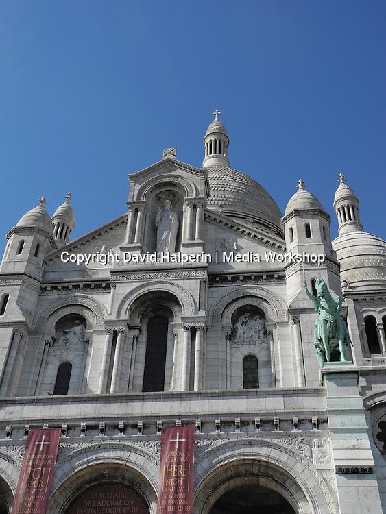 Cathredral of Sacre Coeur facade detail, Montmartre, Paris