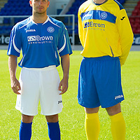 St Johnstone Launch New Strip For Season 2011-12<br /> Captain Jody Morris wearing the home strip and Frazer Wright wearing the new away strip.<br /> see story by Gordon Bannerman Tel: 07729 865788<br /> Picture by Graeme Hart.<br /> Copyright Perthshire Picture Agency<br /> Tel: 01738 623350  Mobile: 07990 594431