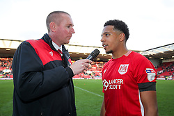 Man of the Match Korey Smith is interviewed by Adam Baker after Bristol City win 1-0 - Rogan Thomson/JMP - 22/10/2016 - FOOTBALL - Ashton Gate Stadium - Bristol, England - Bristol City v Blackburn Rovers - Sky Bet EFL Championship.