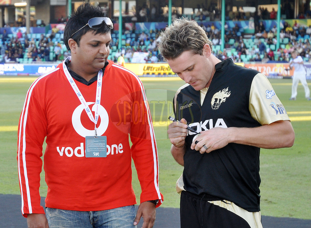 DURBAN, SOUTH AFRICA - 20 May 2009.Vodafone ball signing by Brendon McCullum  during the IPL Season 2 match between the Rajasthan Royals and the Kolkata Knight Riders held at Sahara Stadium Kingsmead, Durban, South Africa..