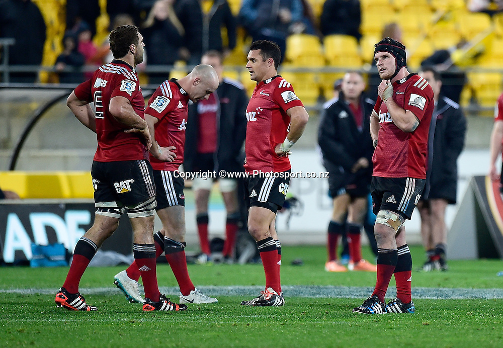 Luke Whitelock (L), Willi Heinz, Dan Carter and Matt Todd of the Crusaders stand dejected after their loss during the Super Rugby - Hurricanes v  Crusaders rugby match at the Westpac Stadium in Wellington, New Zealand on the 28th of June 2014. Photo: Marty Melville/www.Photosport.co.nz