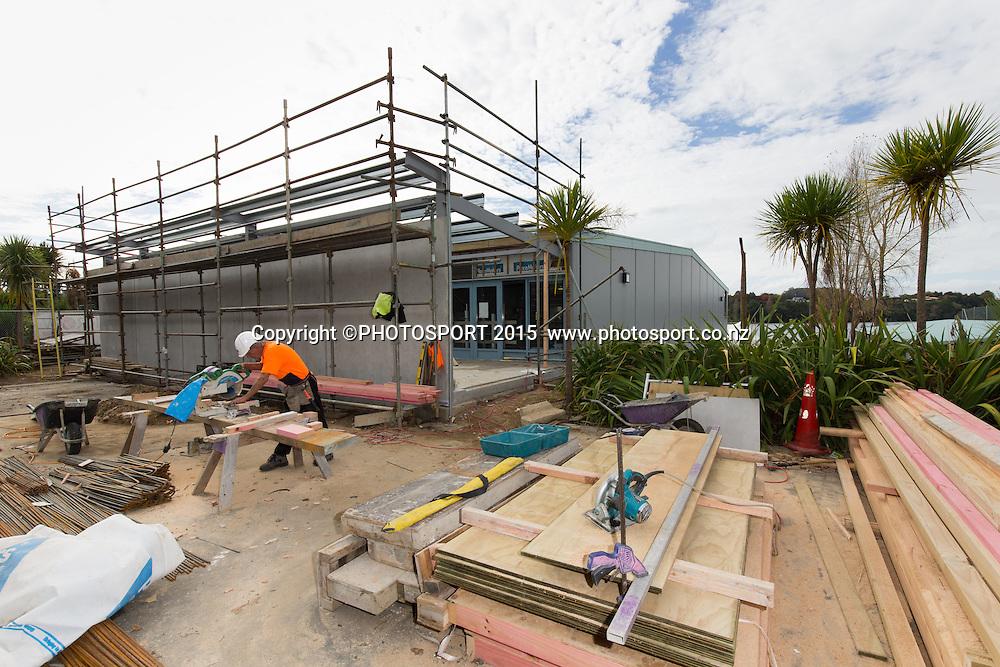 Construction work underway at at the Rowing NZ High Performance Centre, Media Day, Lake Karapiro, Cambridge, New Zealand, Wednesday 6 May 2015. Photo: Stephen Barker/Photosport.co.nz