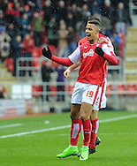 Jonson Clarke-Harris of Rotherham United celebrates scoring to make it 1-0 during the Sky Bet Championship match at the New York Stadium, Rotherham<br /> Picture by Richard Land/Focus Images Ltd +44 7713 507003<br /> 28/11/2015