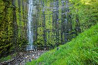 Waimoku Falls and visitors, Haleakala NationalPark,Maui, Hawaii, USA.