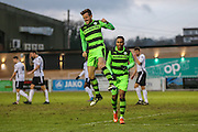 Forest Green Rovers Elliott Frear(11) celebrates his goal, 0-1 during the Vanarama National League match between Bromley FC and Forest Green Rovers at Hayes Lane, Bromley, United Kingdom on 7 January 2017. Photo by Shane Healey.