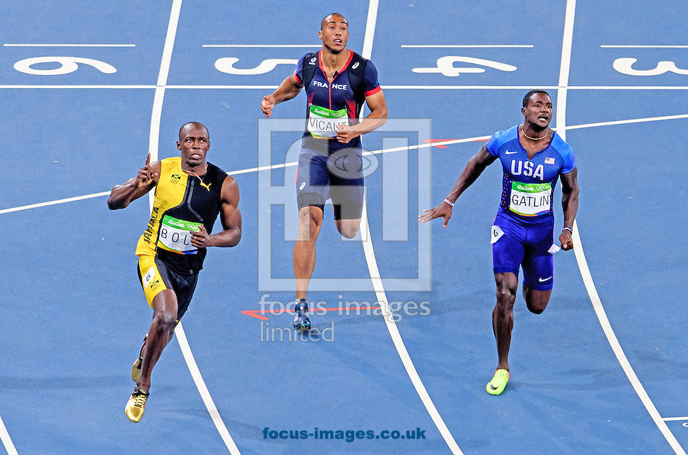 Usain Bolt of Jamaica retains his title and wins his third successive Gold Medal in the Men's 100m on day nine of the XXXI 2016 Olympic Summer Games in Rio de Janeiro, Brazil.<br /> Picture by EXPA Pictures/Focus Images Ltd 07814482222<br /> 14/08/2016<br /> *** UK &amp; IRELAND ONLY ***<br /> <br /> EXPA-EIB-160815-0060.jpg