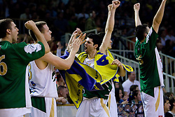 Saso Ozbolt of Olimpija celebrates at third finals basketball match of Slovenian Men UPC League between KK Union Olimpija and KK Helios Domzale, on June 2, 2009, in Arena Tivoli, Ljubljana, Slovenia. Union Olimpija won 69:58 and became Slovenian National Champion for the season 2008/2009. (Photo by Vid Ponikvar / Sportida)