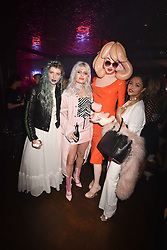 Left to right, ?, ?, Pandemonia and Liza Owen at the Maybelline New York Bring on The Night party hosted by Adriana Lima & Jourdan Dunn at Scotch of St.James, 13 Masons Yard, England. 18 February 2017.