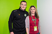Forest Green Rovers Lee Collins(5) with his sponsor during the EFL Sky Bet League 2 match between Forest Green Rovers and Carlisle United at the New Lawn, Forest Green, United Kingdom on 16 March 2019.