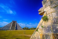 View from the Platform of the Eagles to El Castillo, Chichen Itza archaeological site, Yucatan, Mexico