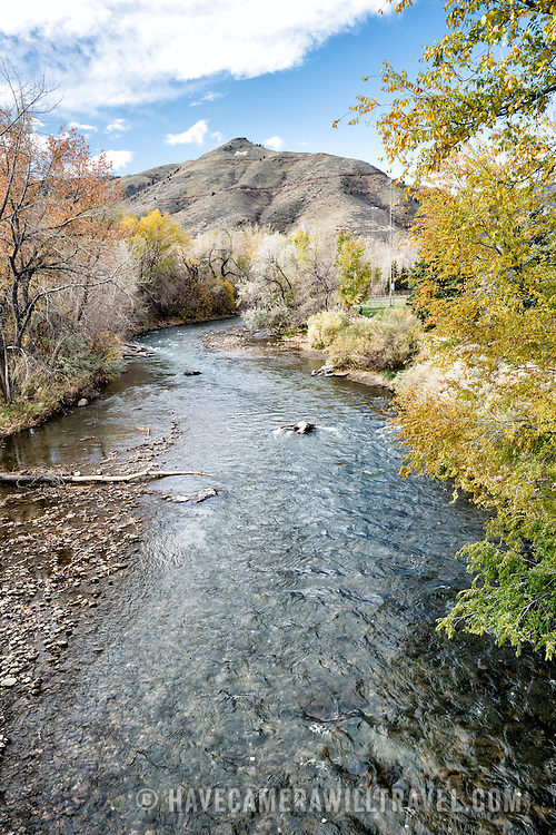 Clear Creek runs through the center of Golden, Colorado, just outside Denver at the eastern edge of the Rocky Mountains.