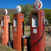 "1940s era gas pumps at the Classical Gas Museum in Embudo, NM, near Taos. This unique museum is dedicated to the great American filling station, a place where kitsch and ""petroliana"" collide."