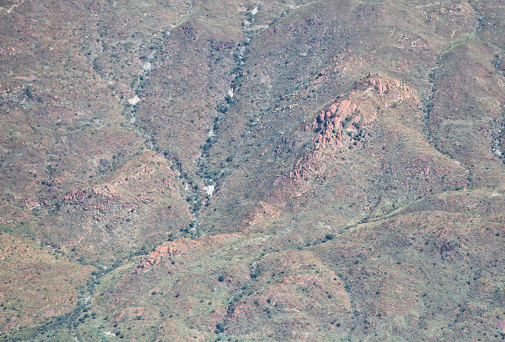 Aerial view of an unusually green Central Australian desert