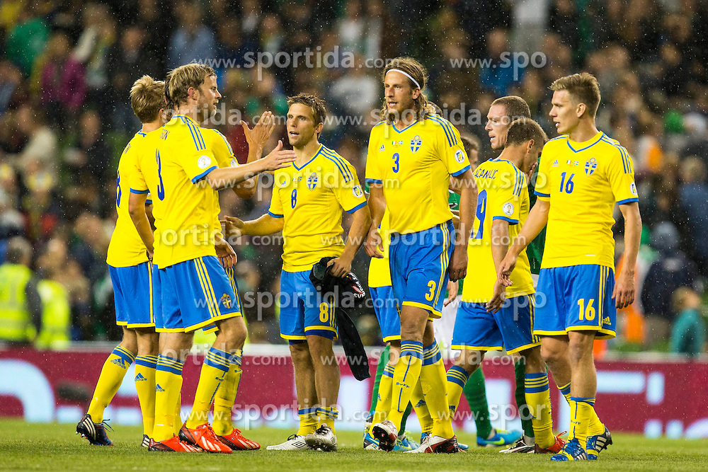 06.09.2013, Aviva Stadium, Dublin, IRL, FIFA WM Qualifikation, Irrland vs Schweden, Rueckspiel, im Bild Sverige Sweden celebrates their victory over Ireland in their World Cup qualification match // during the FIFA World Cup Qualifier second leg Match between Ireland and Sweden at the Aviva stadium, Dublin, Ireland on 2013/09/06. EXPA Pictures &copy; 2013, PhotoCredit: EXPA/ PicAgency Skycam/ Michael Campanella<br /> <br /> ***** ATTENTION - OUT OF SWE *****